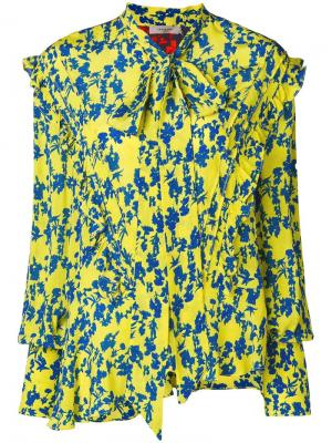 Yasmine bow tie floral blouse Preen Line. Цвет: желтый
