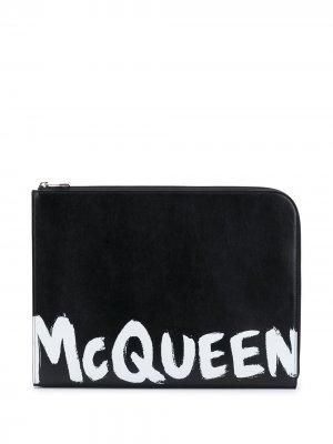 Папка с логотипом Alexander McQueen. Цвет: черный