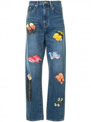 Прямые джинсы с принтом Doublet. Цвет: синий