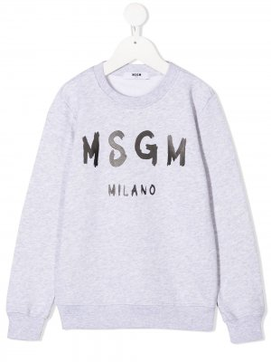 Свитер с логотипом Msgm Kids. Цвет: серый