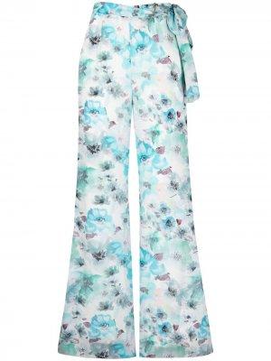 Расклешенные брюки с цветочным принтом Patrizia Pepe. Цвет: синий