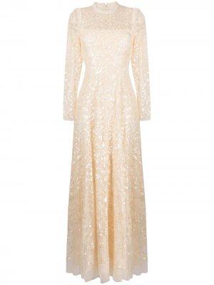 Платье с прозрачными рукавами и пайетками Needle & Thread. Цвет: нейтральные цвета