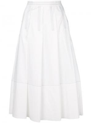 Плиссированная юбка миди Marni. Цвет: белый