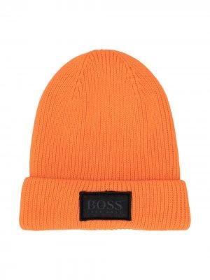 Шапка бини в рубчик BOSS Kidswear. Цвет: оранжевый