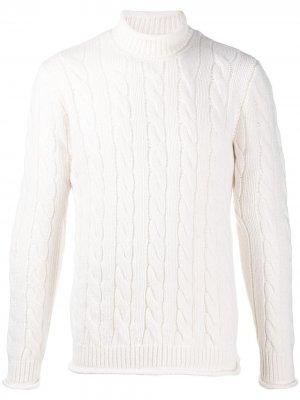 Джемпер фактурной вязки с высоким воротником Altea. Цвет: белый