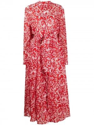 Платье с принтом пейсли Saloni. Цвет: красный