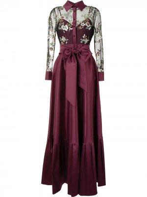 Платье с драпировкой и бантом Badgley Mischka. Цвет: фиолетовый