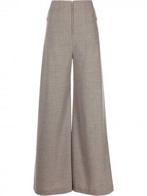 Широкие брюки с завышенной талией Anna Quan. Цвет: серый