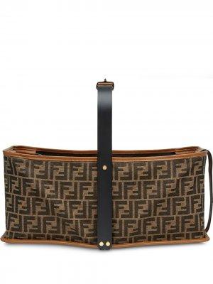 Жаккардовая корзина для пикника с логотипом FF Fendi. Цвет: коричневый