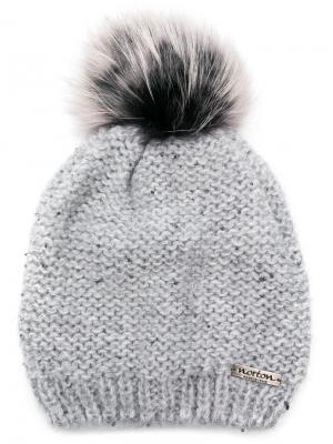 Fur pom beanie Norton. Цвет: серый