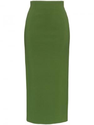 Юбка-карандаш с высокой талией Vika Gazinskaya. Цвет: зеленый