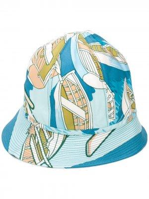 Панама с абстрактным принтом pre-owned Hermès. Цвет: синий