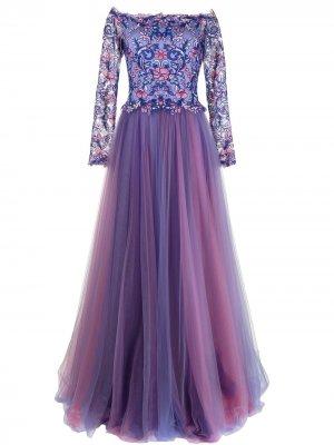 Платье Eshima Ethereal с цветочной вышивкой Tadashi Shoji. Цвет: фиолетовый