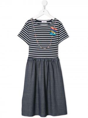 Полосатое платье с короткими рукавами Familiar. Цвет: синий