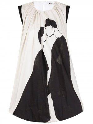 Расклешенное платье мини  Kiss Ports 1961. Цвет: белый