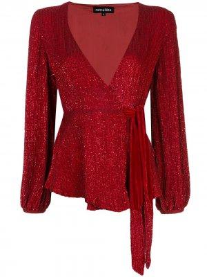 Блузка с вышивкой пайетками Retrofete. Цвет: красный
