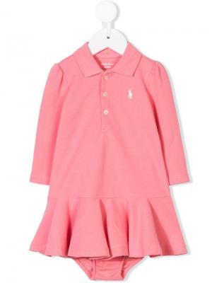 Платье-рубашка-поло на пуговицах Ralph Lauren Kids. Цвет: розовый