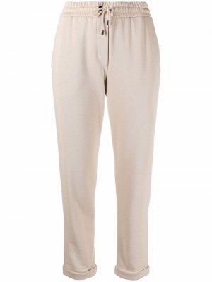 Укороченные спортивные брюки Brunello Cucinelli. Цвет: нейтральные цвета