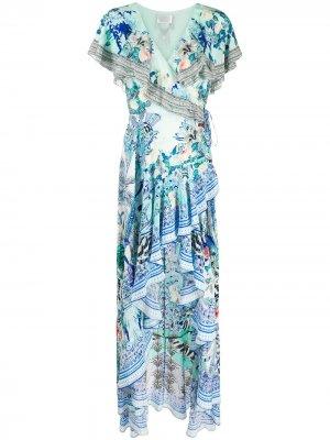 Длинное платье Wing of Luxor с оборками на рукавах Camilla. Цвет: wings of luxor