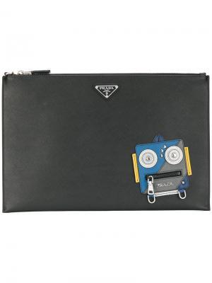 Клатч с принтом робота Prada. Цвет: чёрный