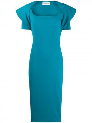 Платье миди с драпировкой на плечах Le Petite Robe Di Chiara Boni. Цвет: синий