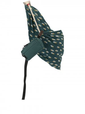 Двойная поясная сумка с драпировкой UNDERCOVER. Цвет: зеленый