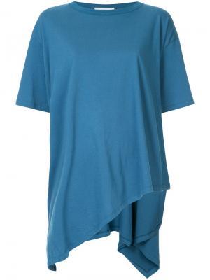 Асимметричная футболка Vika Gazinskaya. Цвет: синий