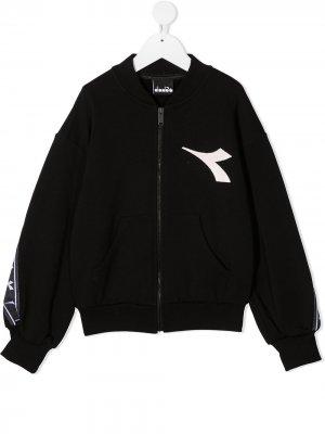 Куртка с длинными рукавами и логотипом Diadora Junior. Цвет: черный