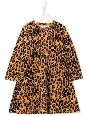 Велюровое платье с леопардовым принтом Mini Rodini. Цвет: коричневый