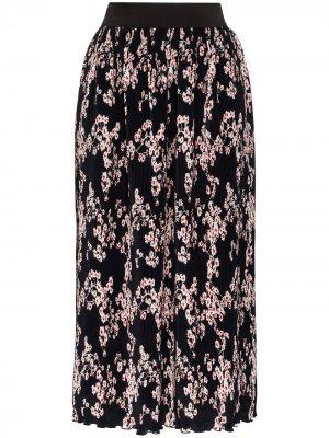 Плиссированная юбка миди с цветочным принтом Paco Rabanne. Цвет: черный