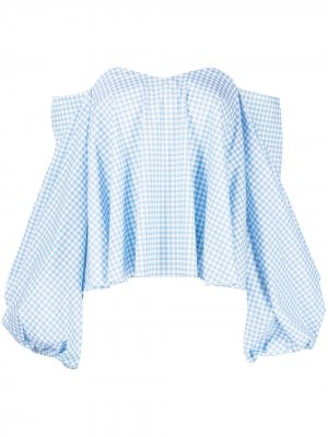 Блузка Everly в клетку гингем Caroline Constas. Цвет: синий