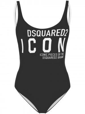 Слитный купальник с логотипом Dsquared2. Цвет: черный