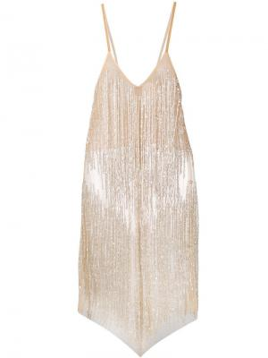 Коктейльное платье мини с пайетками Loulou. Цвет: нейтральные цвета