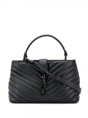 Стеганая сумка-тоут с ремнем-цепочкой Rebecca Minkoff. Цвет: черный