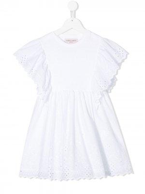 Платье с кружевными рукавами Alberta Ferretti Kids. Цвет: белый