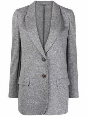 Shawl-lapel single-breasted blazer Brunello Cucinelli. Цвет: серый