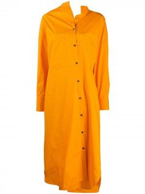 Платье-рубашка асимметричного кроя длины миди Enföld. Цвет: оранжевый