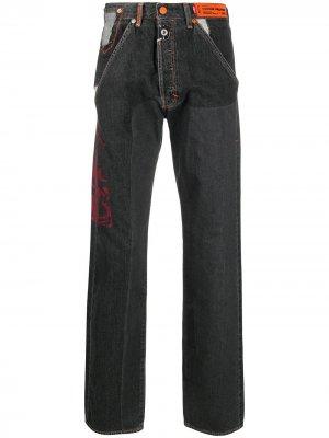 Широкие джинсы с нашивкой-логотипом Heron Preston. Цвет: черный