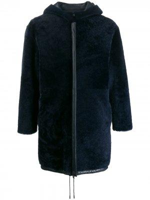 Двустороннее пальто с капюшоном Liska. Цвет: синий