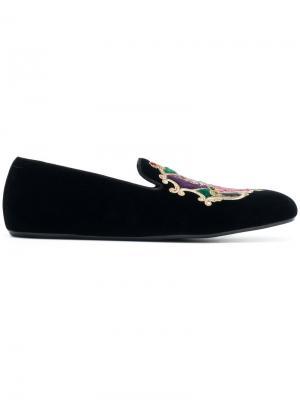 Слиперы с вышивкой Dolce & Gabbana. Цвет: черный
