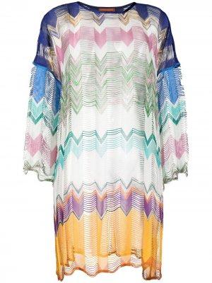 Пляжное платье в стиле колор-блок Missoni Mare. Цвет: синий