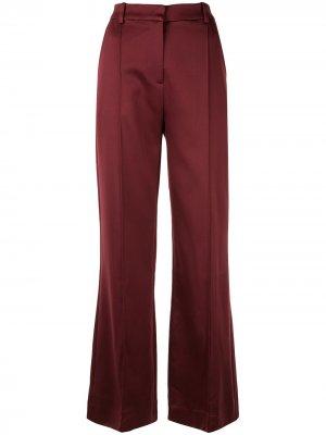 Атласные расклешенные брюки MUNTHE. Цвет: красный