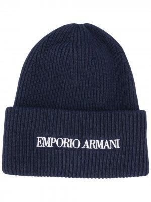 Шапка бини с вышитым логотипом Emporio Armani. Цвет: синий