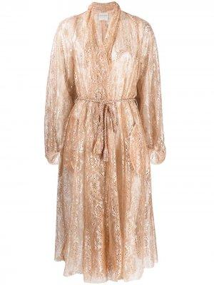 Полупрозрачный халат с завязками Forte. Цвет: золотистый
