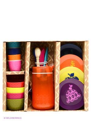 Набор посуды Battat. Цвет: оранжевый, желтый, синий, фиолетовый