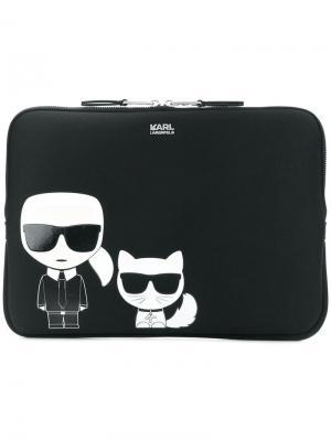 Сумка для ноутбука Ikonik Karl Lagerfeld. Цвет: черный