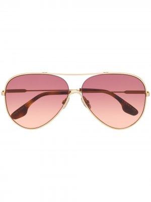 Солнцезащитные очки-авиаторы с затемненными линзами Victoria Beckham. Цвет: золотистый
