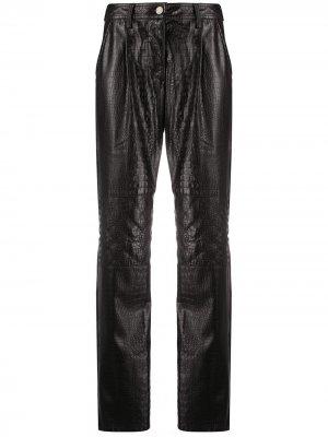 Прямые брюки с тиснением под кожу крокодила Koché. Цвет: черный