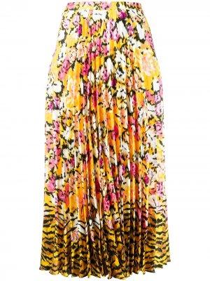 Плиссированная юбка с цветочным принтом Saloni. Цвет: желтый