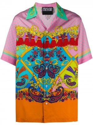 Рубашка с принтом Baroque Versace Jeans Couture. Цвет: розовый